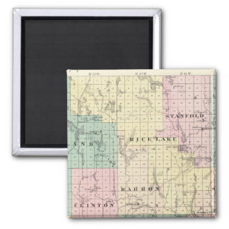 Map of Barron County, State of Wisconsin 2 Inch Square Magnet