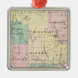 Map of Barron County, State of Wisconsin Christmas Tree Ornaments