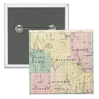 Map of Barron County, State of Wisconsin Pinback Button