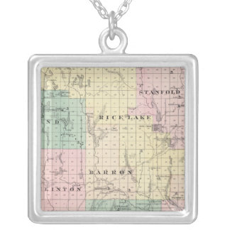 Map of Barron County, State of Wisconsin Silver Plated Necklace