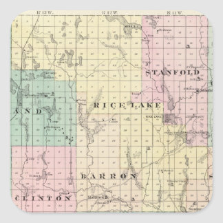 Map of Barron County, State of Wisconsin Square Sticker