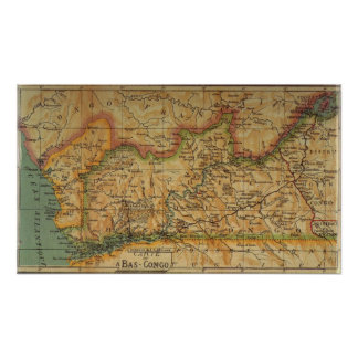 Map of Bas Congo - Belgian Congo 1913 Poster