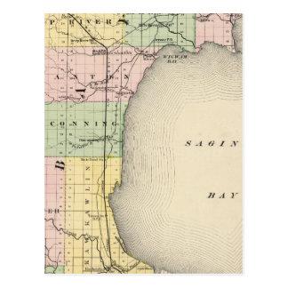 Map of Bay County, Michigan Postcard