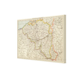 Map of Belgium and Luxembourg Canvas Print