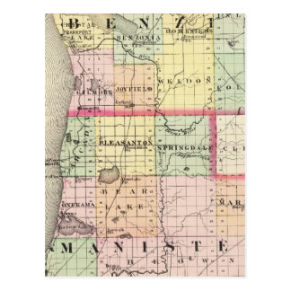 Map of Benzie and Manistee counties, Michigan Postcard