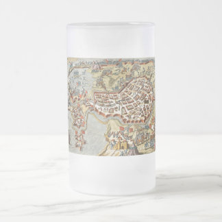 Map of Bergen op Zoom, Holland Frosted Glass Beer Mug