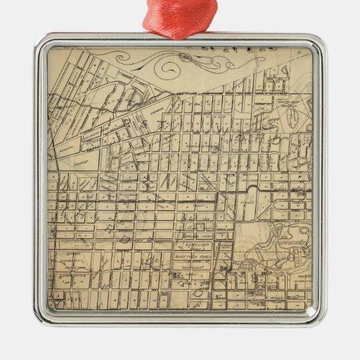 Map of Berkeley, California Square Metal Christmas Ornament