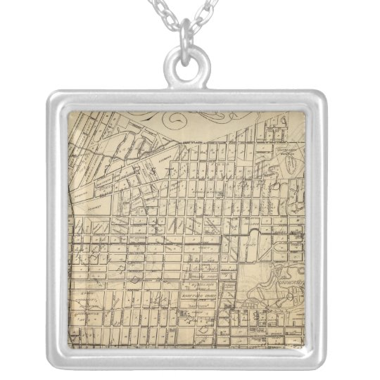 Map of Berkeley, California Silver Plated Necklace