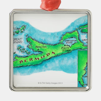 Map of Bermuda Metal Ornament