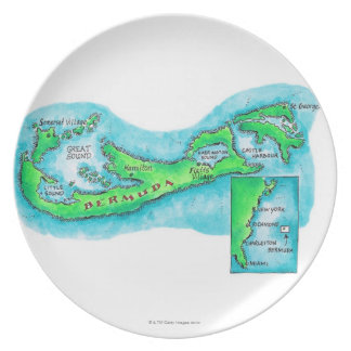 Map of Bermuda Party Plate