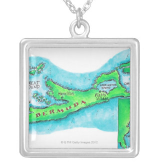 Map of Bermuda Silver Plated Necklace