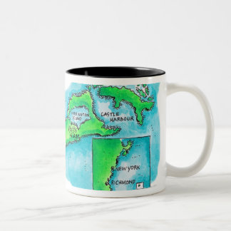 Map of Bermuda Two-Tone Coffee Mug