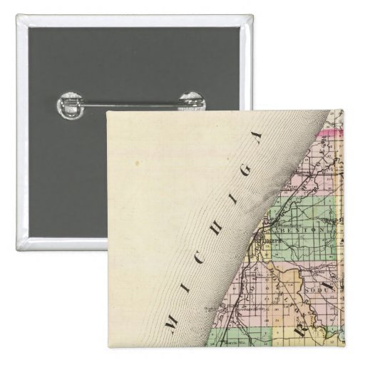 Map of Berrien County, Michigan 2 Inch Square Button