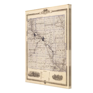 Map of Black Hawk County, State of Iowa Stretched Canvas Print