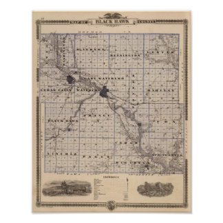 Map of Black Hawk County, State of Iowa Poster