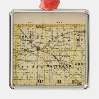 Map of Boone and McHenry counties Square Metal Christmas Ornament
