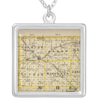 Map of Boone and McHenry counties Silver Plated Necklace