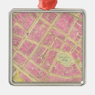 Map of Boston 12 Metal Ornament