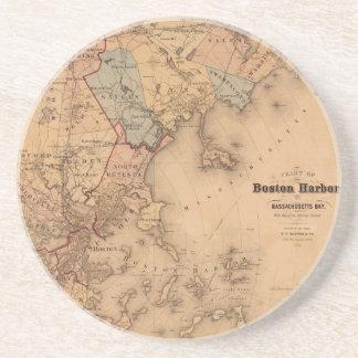 Map Of Boston 1861 Drink Coaster
