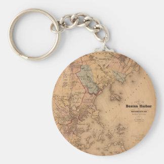 Map Of Boston 1861 Keychain