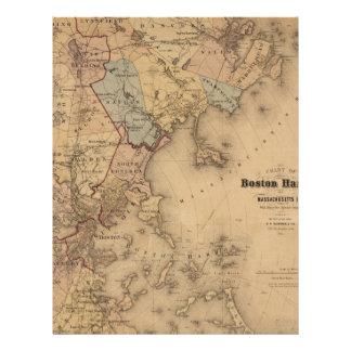 Map Of Boston 1861 Letterhead