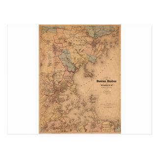 Map Of Boston 1861 Postcard