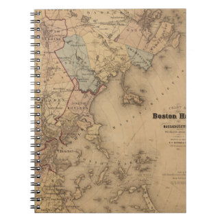 Map Of Boston 1861 Spiral Notebook