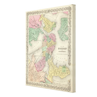 Map Of Boston And Adjacent Cities Stretched Canvas Print