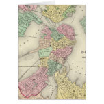 Map Of Boston And Adjacent Cities Greeting Cards