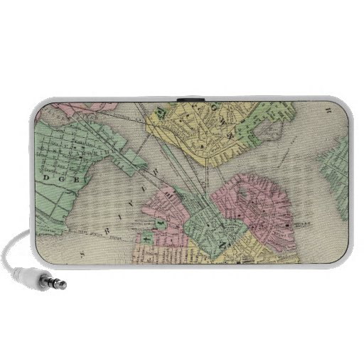Map Of Boston And Adjacent Cities iPod Speaker