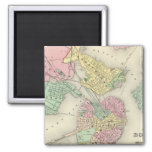 Map Of Boston And Adjacent Cities 2 Inch Square Magnet