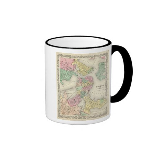 Map Of Boston And Adjacent Cities Ringer Coffee Mug