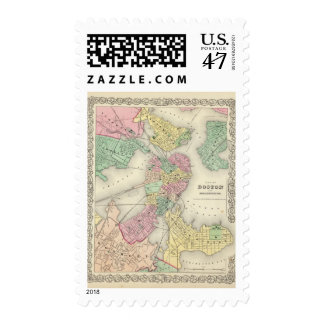 Map Of Boston And Adjacent Cities Postage
