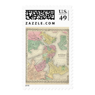 Map Of Boston And Adjacent Cities Postage Stamps