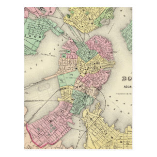 Map Of Boston And Adjacent Cities Postcard