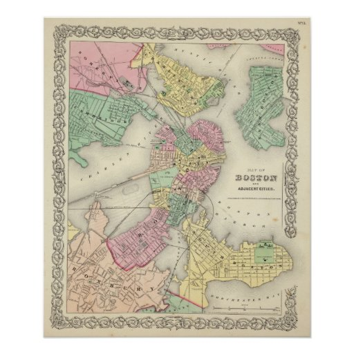 Map Of Boston And Adjacent Cities Print