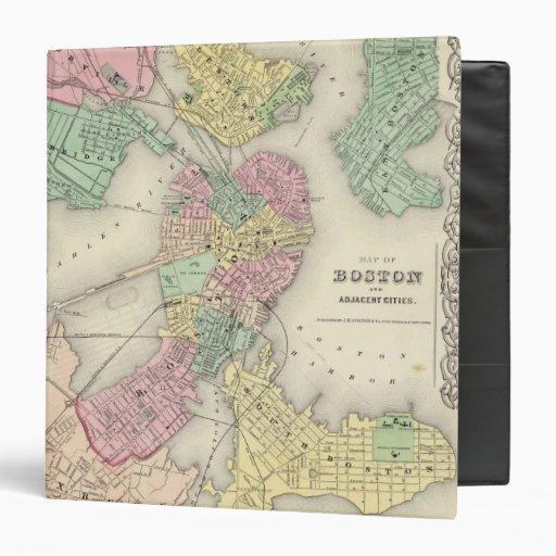 Map Of Boston And Adjacent Cities Vinyl Binders
