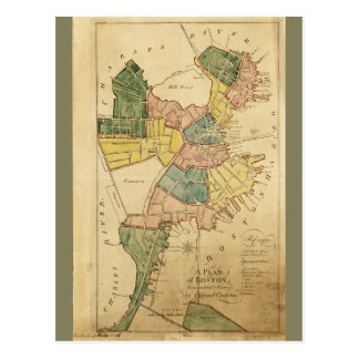 Map of Boston Massachusetts (1805) Postcard