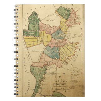 Map of Boston Massachusetts (1805) Spiral Notebook