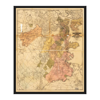 Map of Boston Massachusetts (1888) Canvas Print
