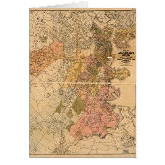 Map of Boston Massachusetts (1888) Card