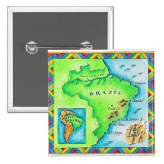 Map of Brazil 2 Inch Square Button
