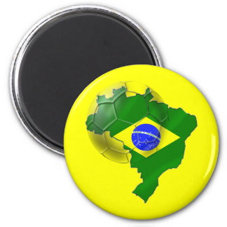 Map of Brazil flag Soccer  ball tees and gifts Refrigerator Magnet