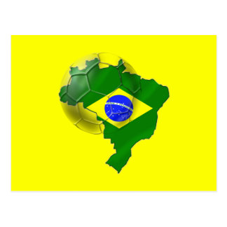 Map of Brazil flag Soccer  ball tees and gifts Postcard