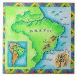 Map of Brazil Large Square Tile
