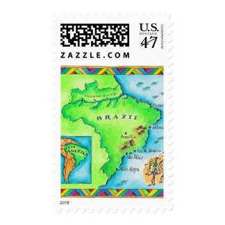 Map of Brazil Postage Stamp