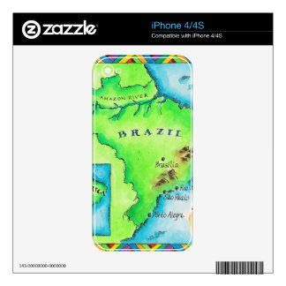 Map of Brazil Decals For iPhone 4