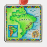 Map of Brazil Square Metal Christmas Ornament