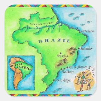 Map of Brazil Square Sticker