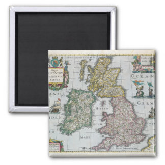 Map of Britain, 1631 2 Inch Square Magnet